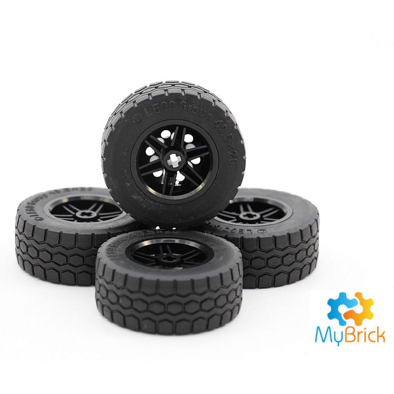 Lego Wheel  Hole Round for Wheels Holder Pin with Black Tire 4 plates with pins